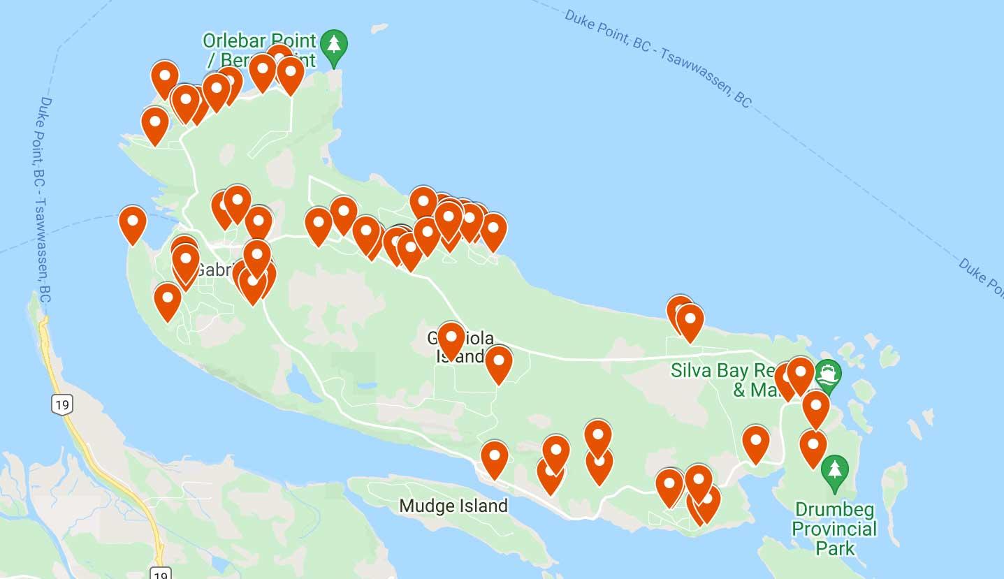 map of artist studios on Gabriola Island 2021 Thanksgiving Studio Tour map